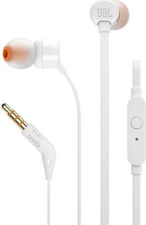 Słuchawki dokanałowe JBL T110 z mikrofonem Białe